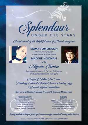 Saturday December 16th presents in the Majestic Theatre Garden amphitheatre Maggie Noonan and Cooran's Emma Tomlinson.