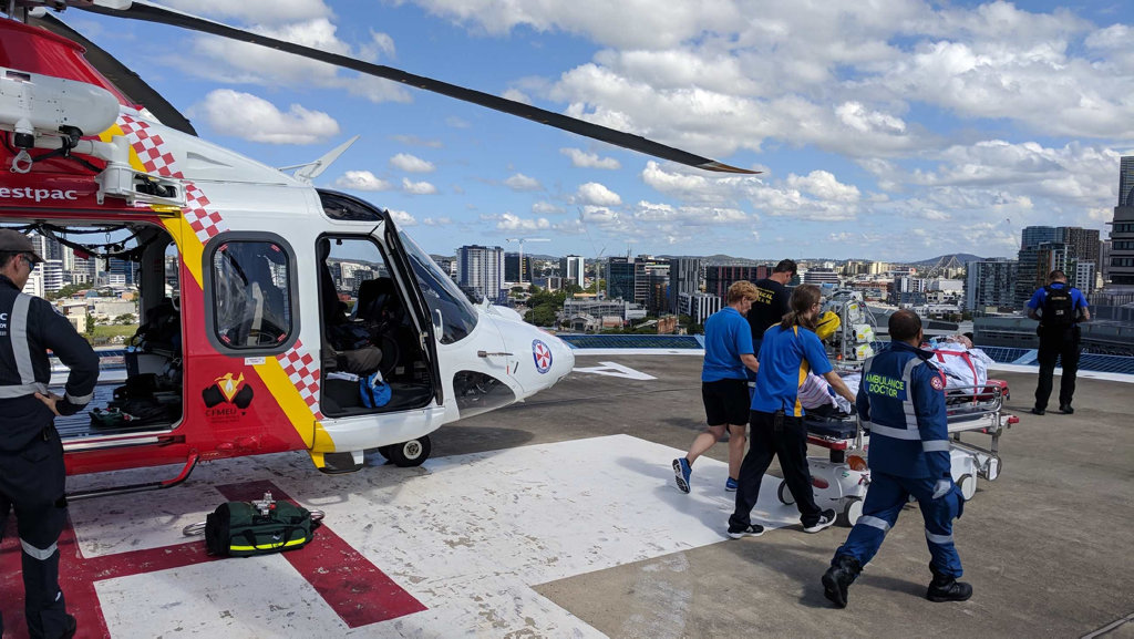 The Westpac Life Saver Rescue Helicopter last night transferred Scott Jones from Lismore Base Hospital to Royal Brisbane Hospital after an explosion at the Lismore Turf Club.