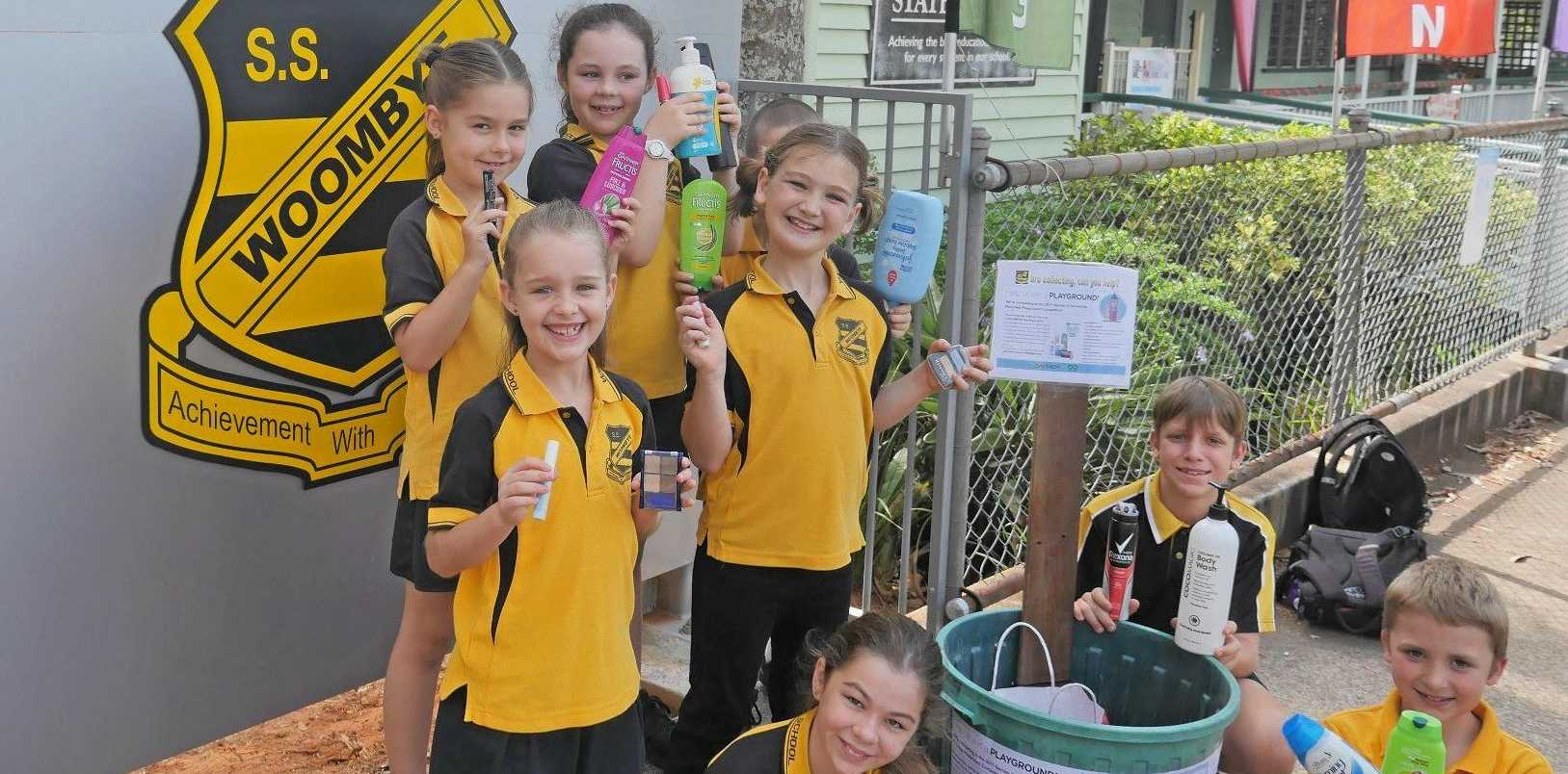 TERRACYCLE: Students at Woombye State School are collective recyclable items for the Terracycle Competition to try and win a new playground.