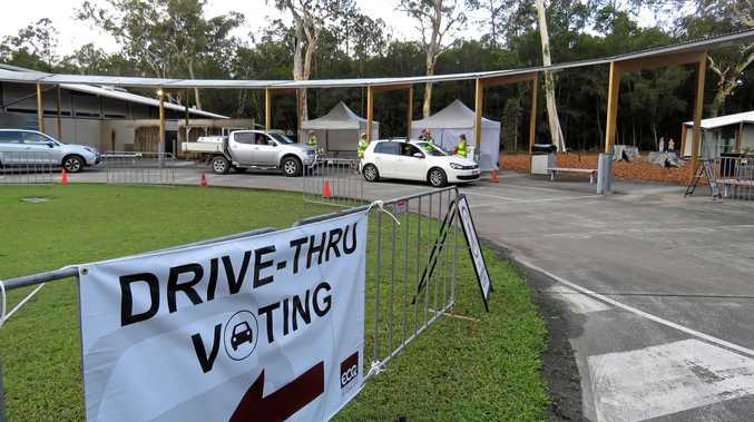 NEW IDEA: Trial drive-through polling at the Tewantin Tafe building.