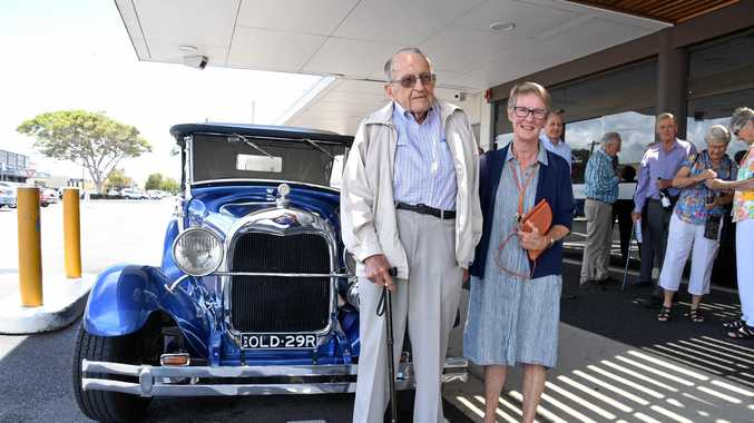 TRAVEL IN STYLE: Bruce Secombe with his step-daughter Susan Shipway who organised his ride in the hot rod for his 100th birthday.