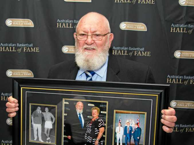 WELL DONE: Ken Madsen after being inducted into the Australian Basketball Hall of Fame.