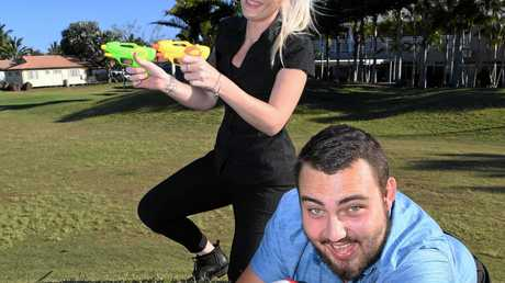 Rhiannon Pashley and Callen Harwood are excited about the mega awesome water fight in December at the Coral Cove Golf Club.