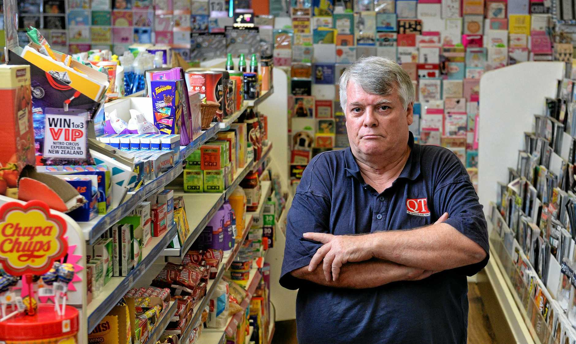 RIPPED OFF: Redbank News and Convenience owner Peter Clymo says thieves have taken him to the brink of bankruptcy.