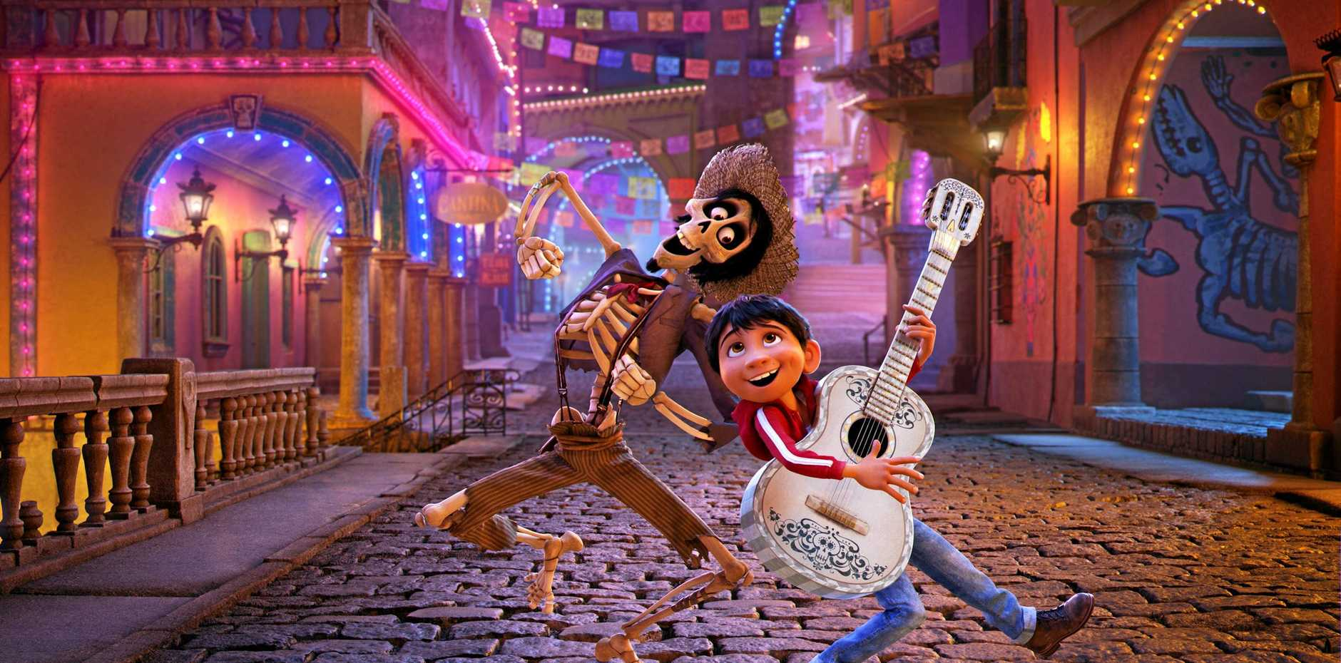 VIVA MEXICO: Hector (voiced by Gael García Bernal) and Miguel (Anthony Gonzalez) in a scene from the movie  Coco .