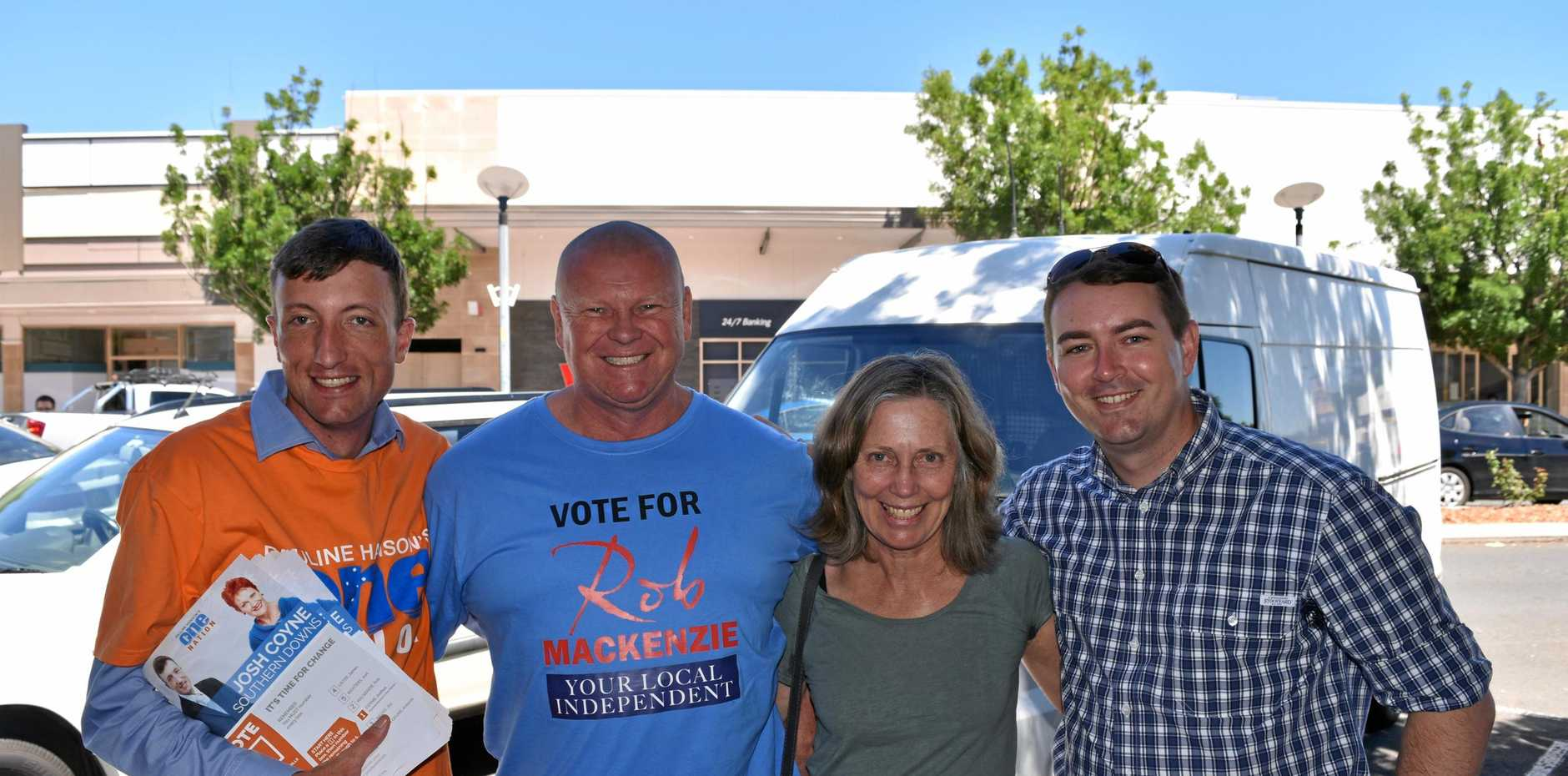 Josh Coyne, Rob Mackenzie, Antonia van Geuns and Joel Richters at the Warwick pre-polling booth this morning.