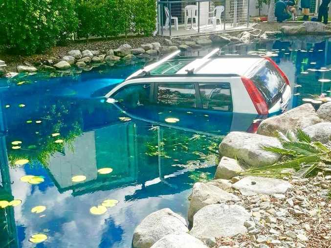 A 90-year-old man crashed into the pond at Ivory Palms Resort in Noosaville, but escaped without injury.