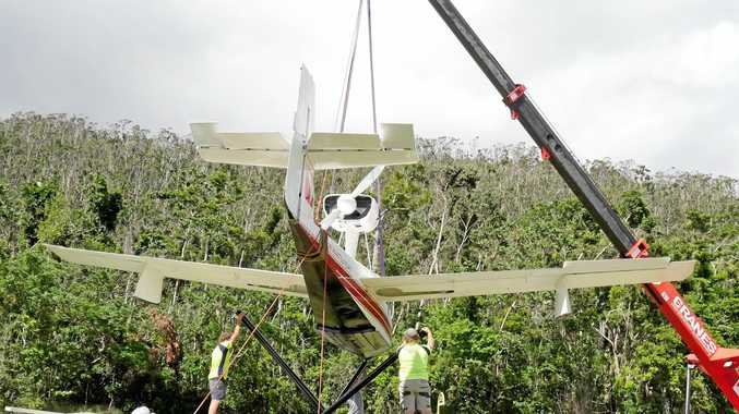 Sea plane being reinstalled at Whitsunday Airport this morning.