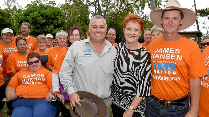 ONE MORE CHANCE: Pauline Hanson and her candidates, Damian Huxham and James Hansen, in Hervey Bay earlier this week. Today's the day if both find out if they will take their respective seats.