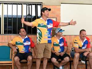 GLORY DAYS: Legends of League rugby league players (from left) Craig Teevan, Stuart Kelly, Troy Byers and Craig Wilson talk about their playing days at Hervey Bay Police Station. Several players will appear at Rebel Sport, Hervey Bay, from 9.30am today.