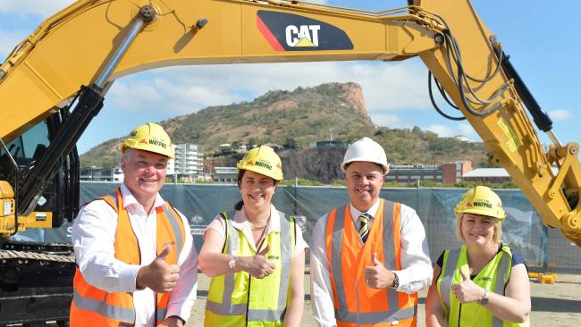 Premier Annastacia Palaszczuk (second from left) turns the sod for the new stadium in Townsville with northern candidates Scott Stewart, Aaron Harper and Coralee O'Rourke.