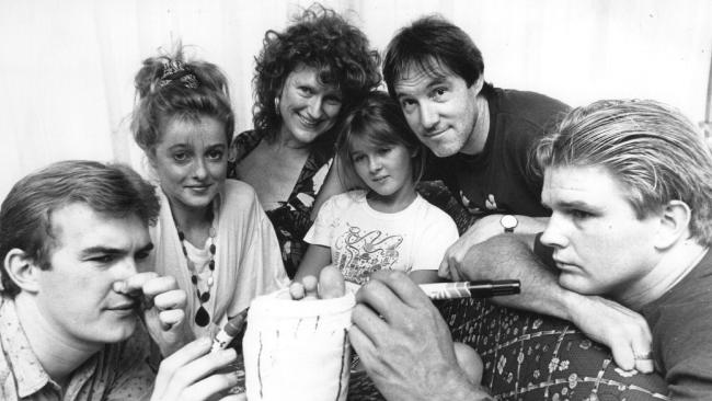 Sarah Monahan, star of the TV show 'Hey Dad', was visited in her home by fellow cast members after breaking her leg in a car accident in 1990.