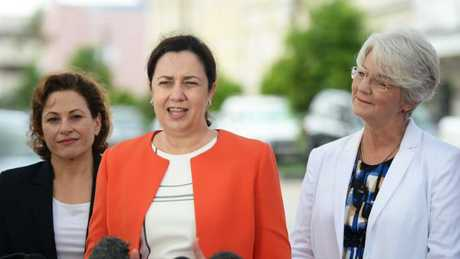 Deputy Premier Jackie Trad, Premier Annastacia Palaszczuk and Rockhampton Mayor Margaret Strelow, who is now running as an independent.