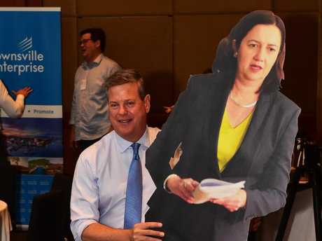Tim Nichols with a cardboard cut out of Premier. As you do. Picture: Shae Beplate