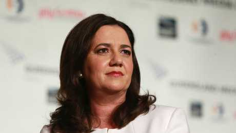 Queensland Premier Annastacia Palaszczuk speaks at the Queensland Media Club on the last day of the election campaign. Picture: AAP Image/Claudia Baxter