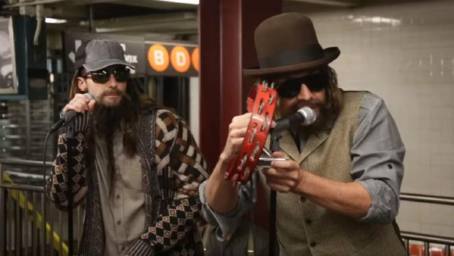 Maroon 5 and Jimmy Fallon perform undercover in a New York subway.