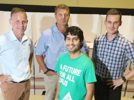 Rowan Holzberger (ALP), left, Robert Buegge (IND), Amin Javanmard (Greens) and Sam O'Connor (LNP).