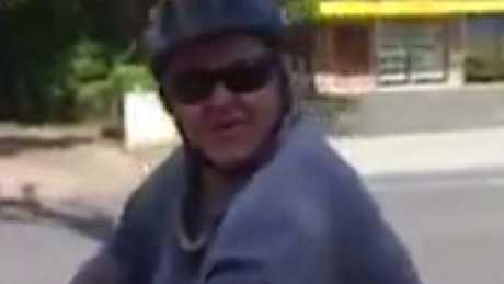 The bizarre cyclist. Picture: Facebook/Kallangur & Surrounding Neighbourhood WatchSource: Facebook