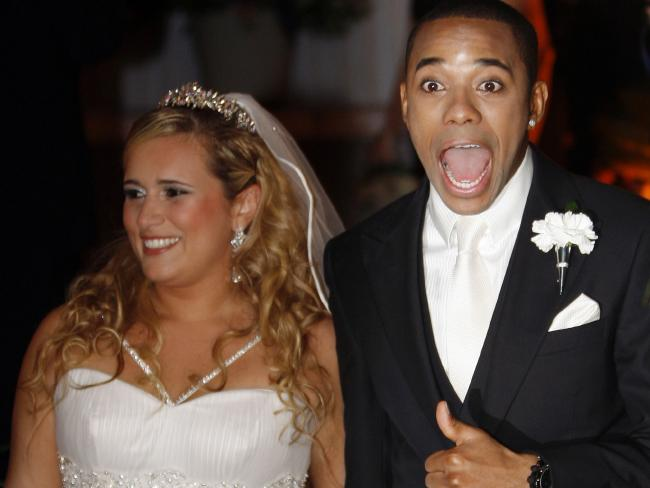 Robinho at his wedding with Vivian Guglielmetti Junits in 2009. Picture: Reuters