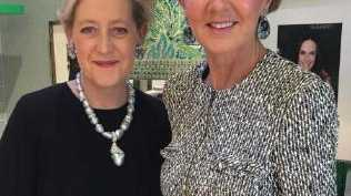 Minister Julie Bishop with jewellery designer Margot McKinney.