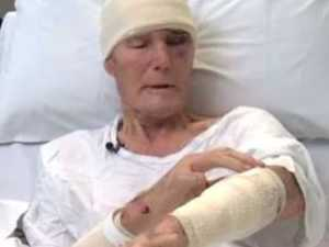 Elderly man bashed in front of kids