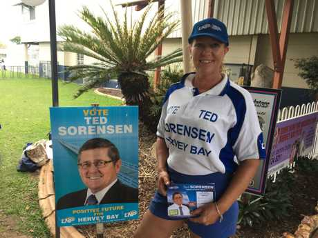 Ted Sorensen's daughter Joanne Stewart is supporting her dad at the election weekend, greeting voters to the PCYC.