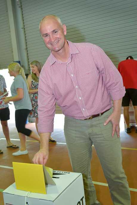 HERE WE GO: Gladstone MP Glenn Butcher casts his vote.