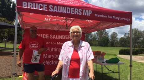 89 year old Jan Hunt casts her vote in Burrum