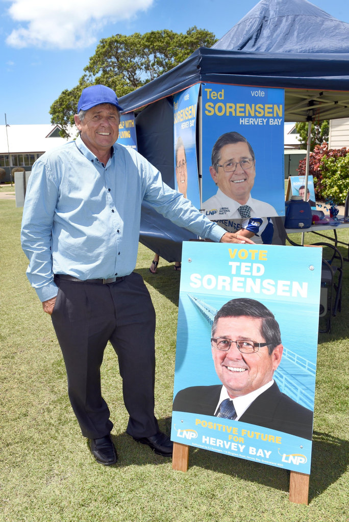 State General Election day, Hervey Bay - LNP's Ted Sorensen at the Urraween Rd Baptist Church.