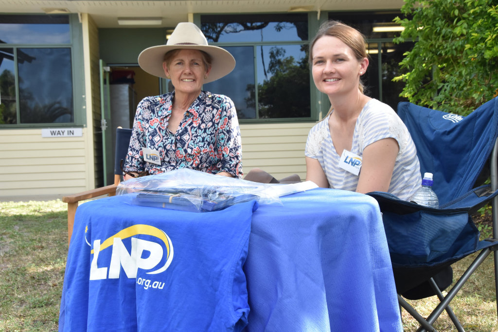 Mother and daughter team Sue and Kim Turner volunteered to hand out how-to-vote cards on election day for the LNP in Miriam Vale.