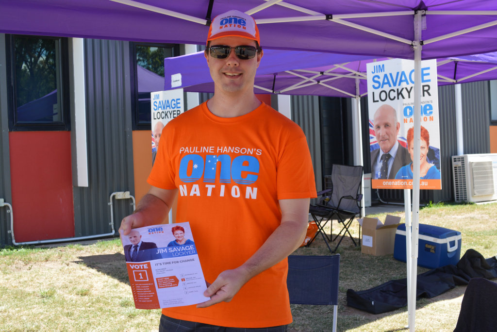 One Nation volunteer Michael Deans was happy a lot of voters had seemed to had made up their minds before coming down to Faith Lutheran College polling booths today.  PHOTO: Francis Witsenhuysen.