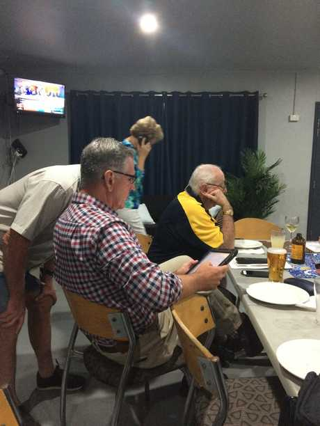 LNP candidate for Burdekin Dale Last watches the vote count in Ayr with his supporters.