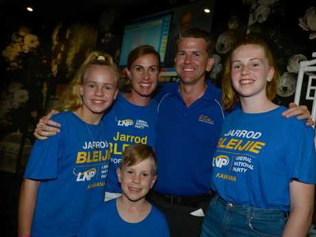The LNP Member for Kawana Jarrod Bleijie with his family at Parklands Tavern, Sally, Taylor, Madison and Jasper.
