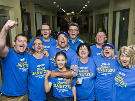 ( Back from left ) Dwight Steinhardt, Dean Milton and Denis Janetzki. ( Front from left ) Sam Wright, Jon Janetzki, David Janetzki, Elizabeth Janetzki, Leone Janetzki, Janice Nicholson and Kevena Franklin celebrate Toowoomba South LNP candidate David Janetzki return on Qld election night. Saturday, 25th Nov, 2017.