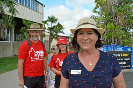 ALP candidate for Whitsunday Bronwyn Taha with some of her supporters at Eimeo