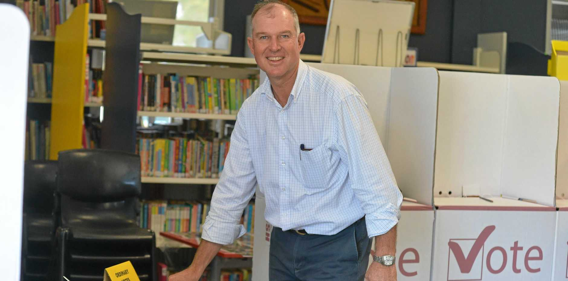 VOTED: Gympie's LNP candidate Tony Perrett casts his vote this morning at Rainbow Beach.