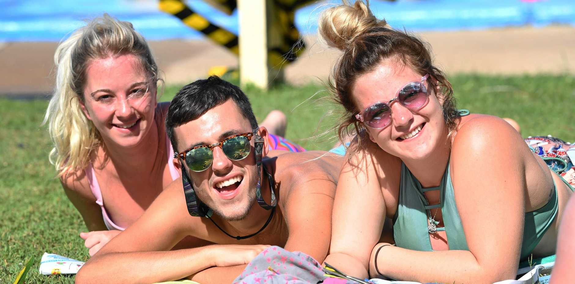 RIVER UPGRADE: Anzac Pool could be expanded in plans Bundaberg Regional Council has for parklands along the Burnett River. Pictured is Sophie Knights, Dylan Moore and Danielle Phippen relaxing at Anzac Pool yesterday.