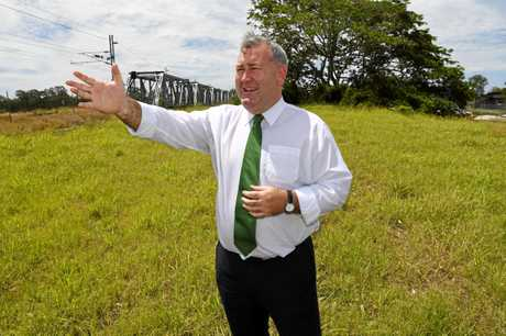 RIVERSIDE PLANNING: Mayor Jack Dempsey points out the land secured by the council for future use.
