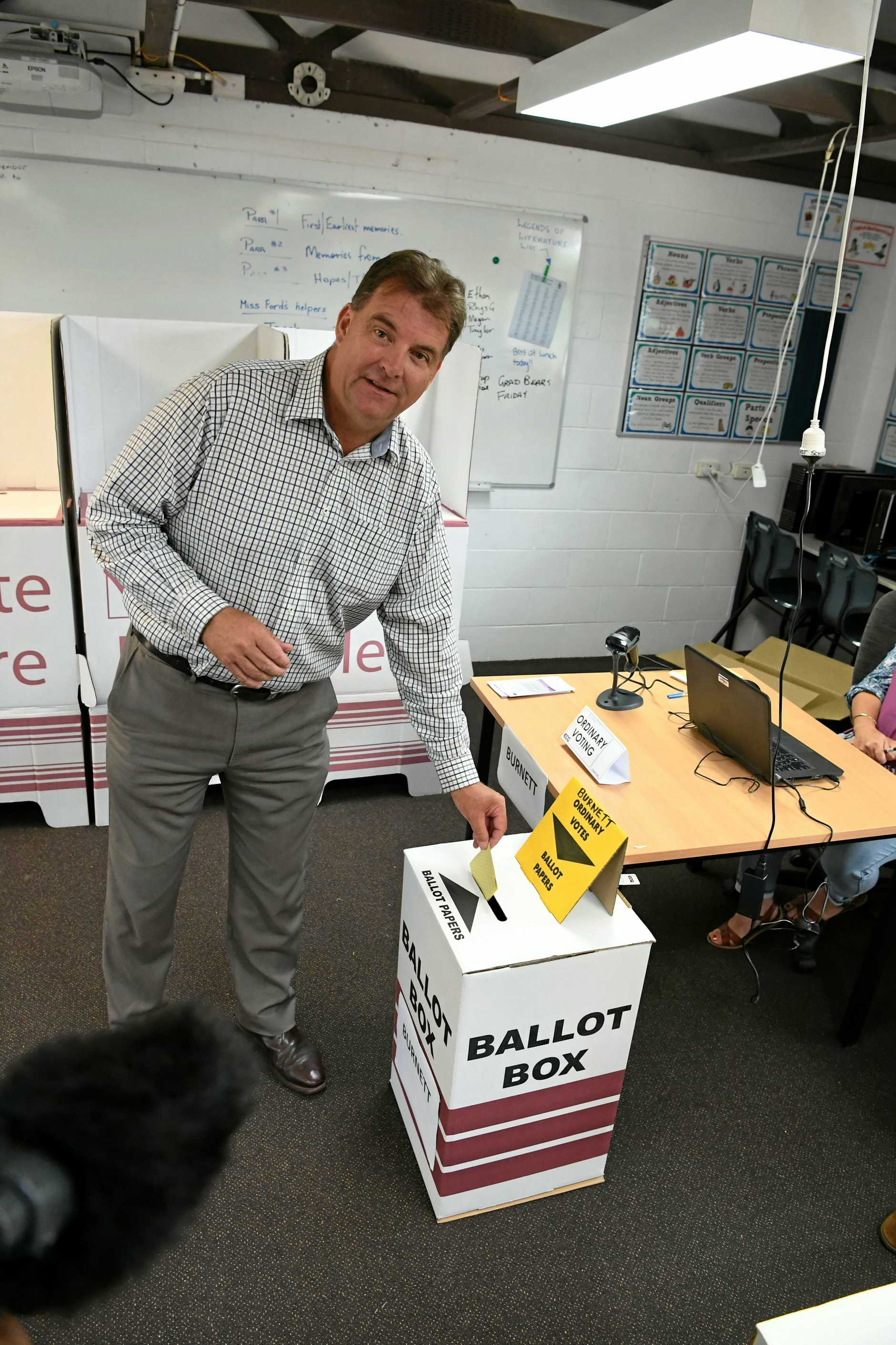 Stephen Bennett at East State School polling booth.
