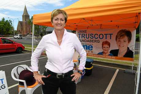 Jane Truscott outside the Maryborough Street polling booth.