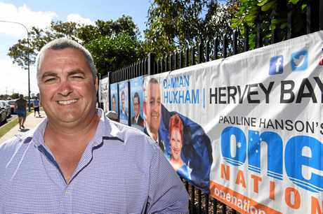 FRASER COAST VOTES: One Nation's Hervey Bay candidate Damian Huxham outside Hervey Bay State High School on election day.