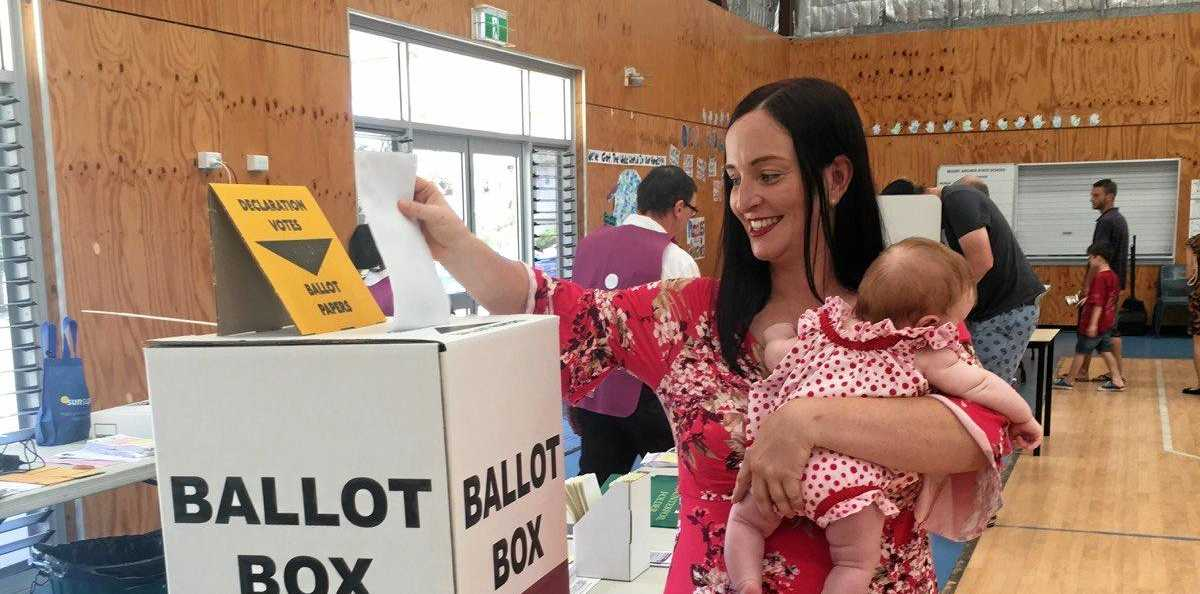 Keppel MP and ALP candidate Brittany Lauga casts her vote in the 2017 Queensland with hopes to return for a second term.