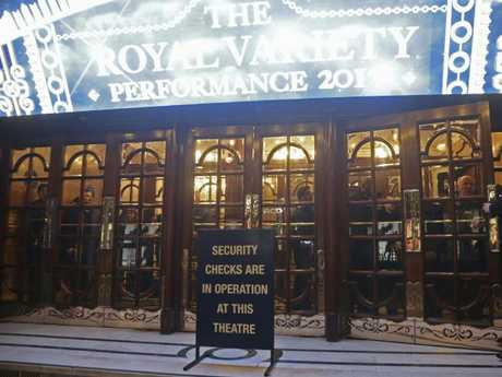 People in lockdown inside the London Palladium in the west end of London after Oxford Circus station was evacuated.  Picture:  AP