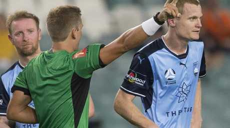 Matt Simon was sent off for retaliating.
