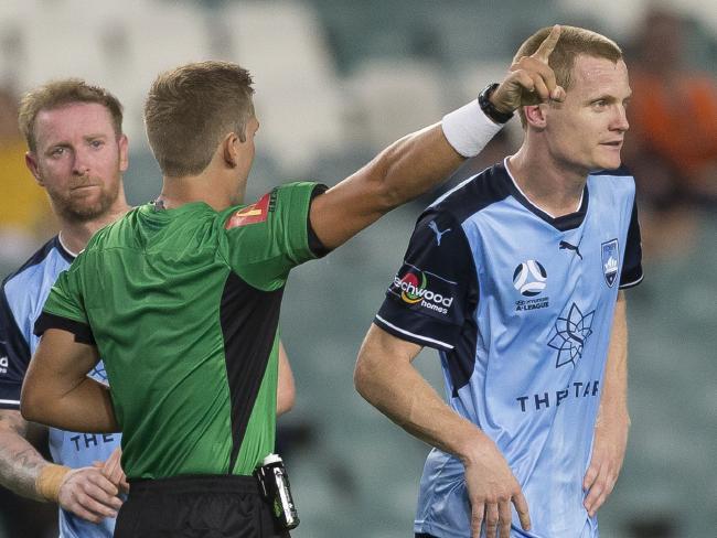 Matt Simon was sent off for retaliating.