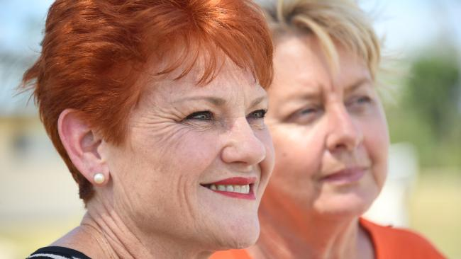 One Nation leader Pauline Hanson is seen with One Nation candidate for Cook Jen Sackley (right) at Mareeba hospital in Mareeba, west of Cairns, Saturday, November 18, 2017. Pauline Hanson is touring the state ahead of the Queensland state election next week. (AAP Image/Brian Cassey)