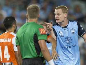 Roar star spits on Sydney striker; both sent off
