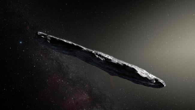 An artist's impression of the first interstellar asteroid: Oumuamua. This unique objecthas been travelling through space for millions of years before a chance encounter with our star system. Picture: European Southern Observatory / M. Kornmesser