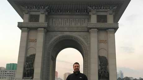 Ian Collins pictured during his recent trip to Pyongyang.