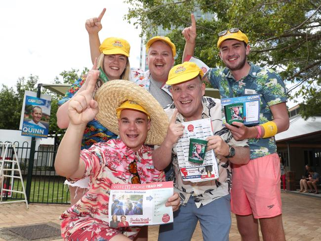Cricket fans Rachelle Jones, Luke smith, Luke Eccles, Jake Lacey and Lloyd Smith voting at East Brisbane State School before going into the Gabba. Picture: Peter Wallis